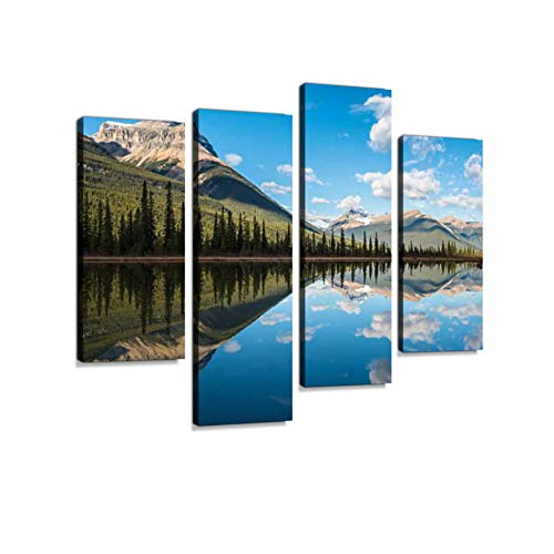 - Waterfowl Lake, Banff National Park, Alberta, Canada Canvas Wall Art Hanging Paintings Modern Artwork Abstract Picture Prints Home Decoration Gift Unique Designed Framed 4 Panel