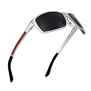 Polarized Sunglasses for Men - Great For Sports, Fishing, Driving Without Glare (silver-red, black)