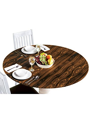 - Carol Wright Gifts Wood Vinyl Fitted Tablecloth, Color Dark Wood, Dark Wood