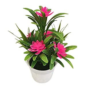 super1798 Artificial Fake Lotus Flower Potted Plant Bonsai Wedding Party Garden Home Decor - Pink 50