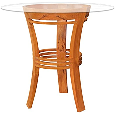 Waxed Teak Half Moon Bar Table With Glass 26 Round Made By Chic Teak