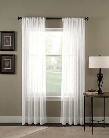 Amazon.com: 4 Piece Solid White Sheer Curtains Fully Stitched ...