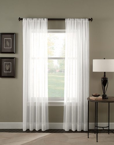 4 piece solid white sheer curtains fully stitched panels window drape 54 - White Sheer Curtains