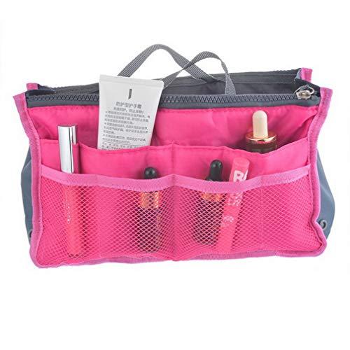 - Cosmetic Bag Travel Organizer Bag Women Nylon Insert Handbag Purse Large Liner Lady Makeup Female Tote rose red
