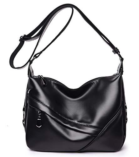 Women's Retro Sling Shoulder Bag from Covelin, Leather Crossbody Tote Handbag New Black