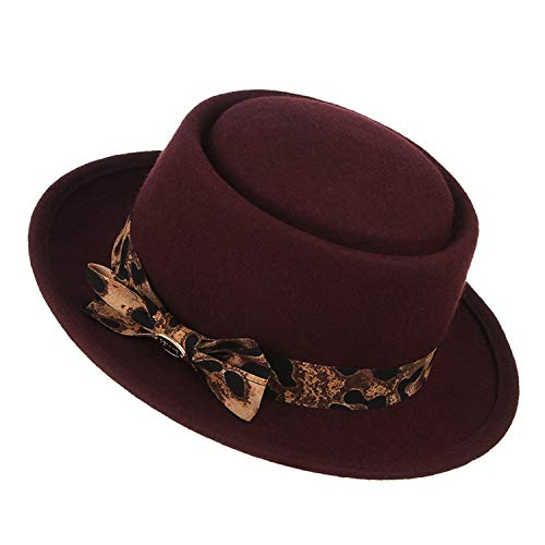 - British Style Fedoras Pillbox Hats Fashion Leopard Ribbon Jazz Cap Flat-top Wool Felt Hat Pork Pie Hat,Wine red,57 cm