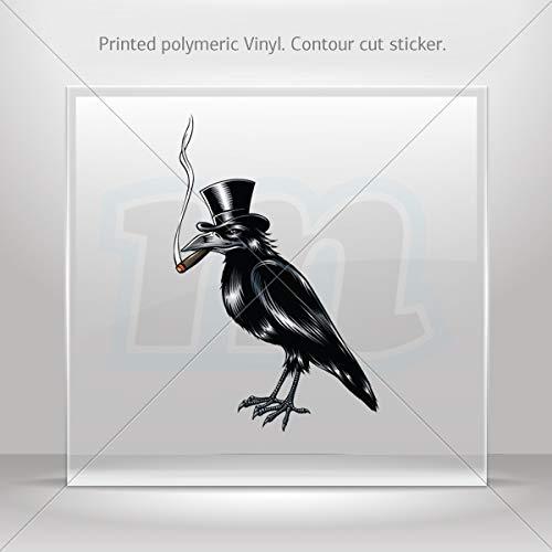 Animals Birds Various sizes Decal Sticker Crow with Hat Smoking Cigar Tablet Laptop Weatherproof S (8 X 5.13 - Ecuador Cigar