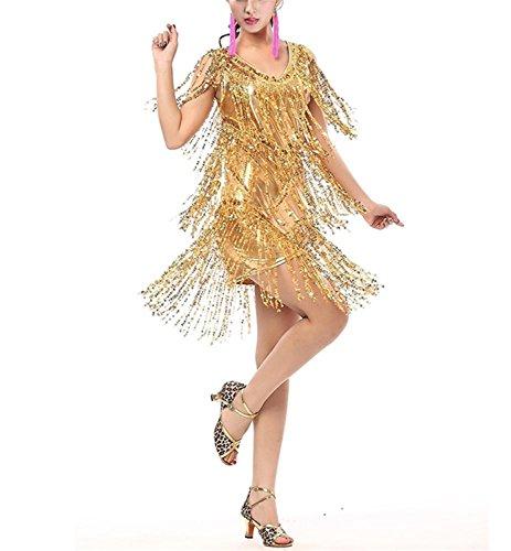 [Gagnell V Neck 1920s Sequin Fringe Charleston Flapper Dance Dresses Costumes Gold0/2] (Dance Costumes Rentals Vancouver)