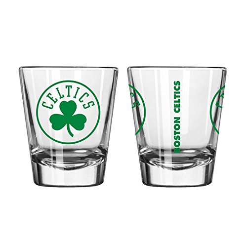 Official Fan Shop Authentic NBA Logo 2 oz. Shot Glasses 2-Pack Bundle. Show your Basketball Team Pride at home, your Bar or at the Tailgate. (Boston -