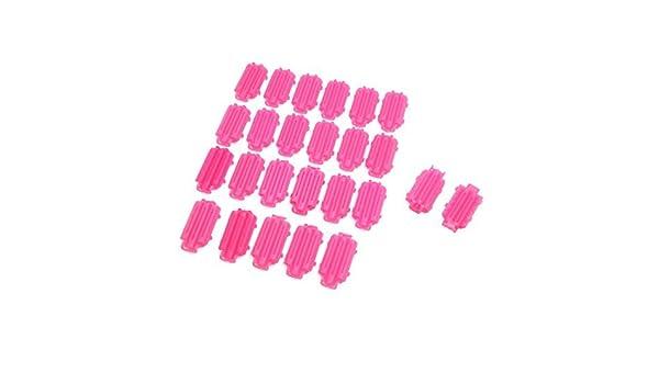 Amazon.com: Maquillaje de plástico eDealMax 25pcs rosa de rizado de Pelo DIY Señora Styling Salon Clips rodillo del bigudí Herramienta: Health & Personal ...