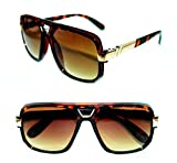 AVIATOR SUNGLASSES HIP HOP VINTAGE BLACK GOLD GRANDMASTER STYLE RETRO 627 (Brown Gold, Brown)