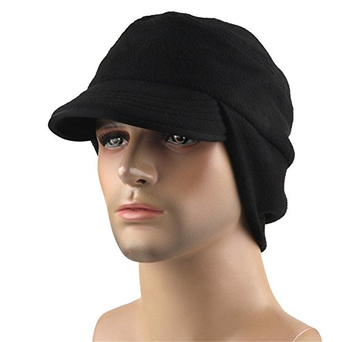 Leories Winter Windproof Cap Outdoor Warm Fleece Earflap Hat with Visor Black (Visor Beanie Fleece)