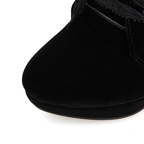 AgooLar Damen Hoher Absatz Niedrig-Spitze Rein Schnüren Stiefel Schwarz