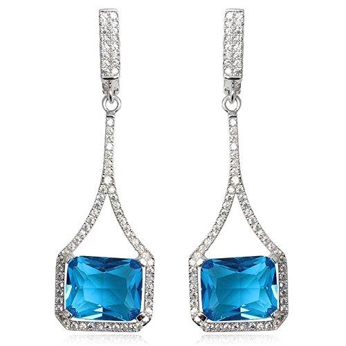EYS JEWELRY® boucles d'oreilles pour dames anguleux 54 x 15 mm Oxyde de Zirconium argent sterling 925 rhodium bleu avec étui de cadeau pendantes d'oreilles femme
