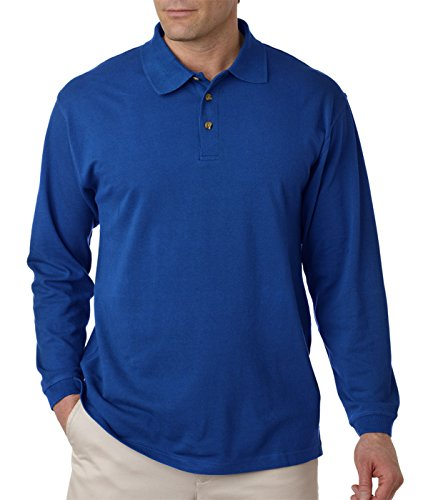 UltraClub Adult Long-Sleeve Classic Pique Cotton Polo, Royal, - Classic Adult Pique Polo