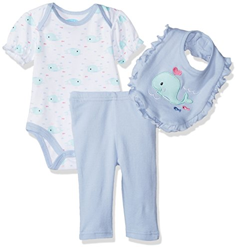 Periwinkle Baby Legging (BON BEBE Baby Girls' 3 Pc Set with S/s Bodysuit Bib and Turn-Me-Round Legging, Sweet Periwinkle Whale, 6-9 Months)