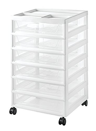 IRIS USA, Inc. SBD-356 WHT/CLR 2PC Set 1PK [ECOM] IRIS 6-Drawer Scrapbook Cart, 2 Pack, White