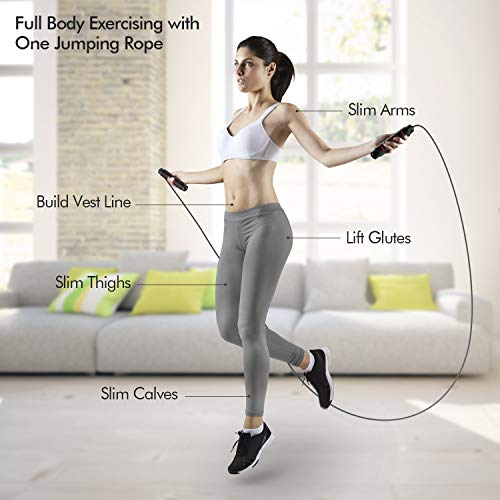 Tangle-Free Rapid Speed Jumping Rope Cable with Ball Bearings for Women and Kids Home Exercise /& Slim Body. Adjustable Steel Skipping Rope with Foam Handles for Gym Fitness Jumping Rope Men