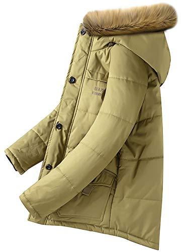 Homme Veste À Hooded Épais Jacket Hiver kaki Capuche Long B Rembourrée Chaud Parka Décontractée Coat Manteau Blouson D'extérieur Mens 44rqgw
