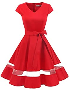 Gardenwed Women's Vintage 1950s Retro Rockabilly Swing Dress Cocktail Dress with Sleeves