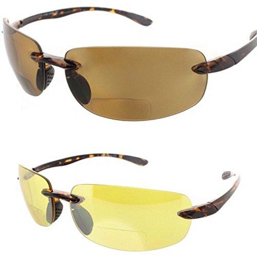 2 Pair of Rimless Bifocal Style - Yellow/Smoke Lens (+2.00 - Maui Readers