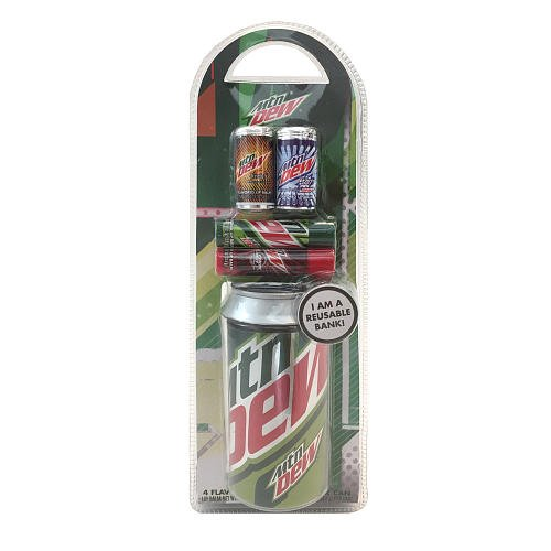 (GBG Beauty Mountain Dew Bank Can and 4 Lip Balms)