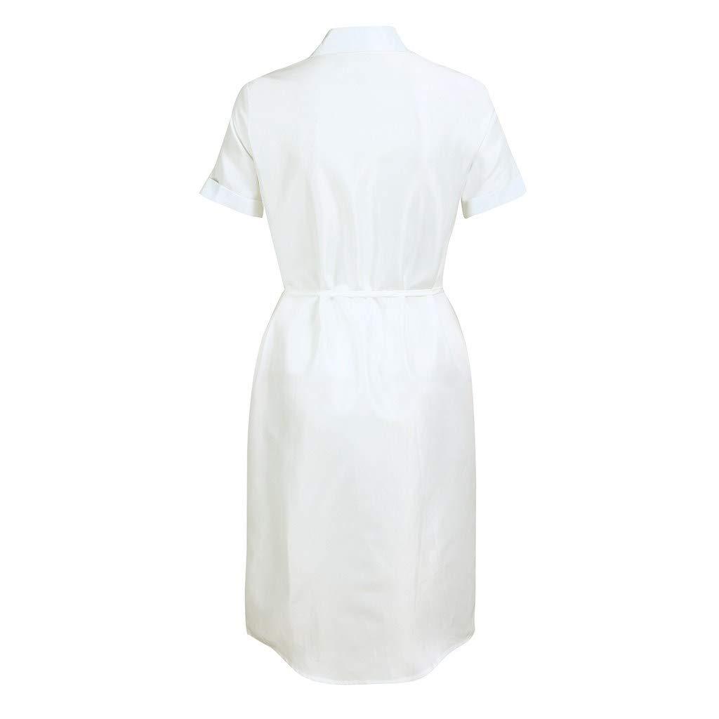 MISYAA Boho Dresses for Women Button Down Short Sleeve Solid Tube Dress Bikini Cover Ups Waist Belt Bestie Gifts