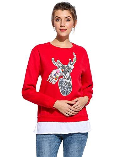 À Femmes Hiver De Vêtements Sweat Partie Jumper Impression Col Shirt Manches 1 Jersey Longues Noël Rond Mode Rot Automne Imprimé Renne Saoye qBEZnPtx