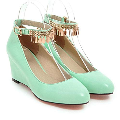 TAOFFEN Heel Fashion Shoes Green Wedge Women Court xq706HU4