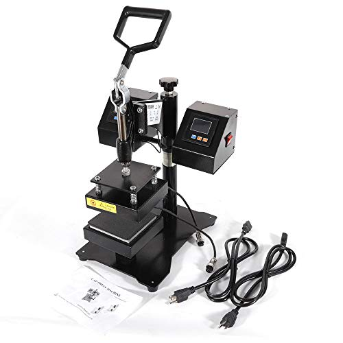 Heat Press Machine 4.7x4.7inch Dual Heating Elements Swing-Arm Manual Multifunctional Rosin Heat Press Machine for T-Shirts Hat Mug Plate Cap
