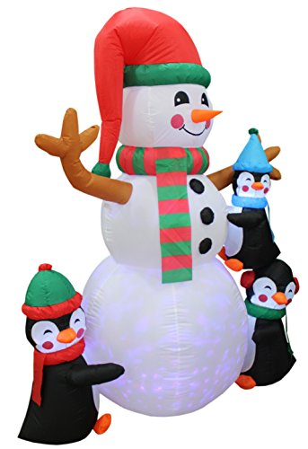 6 Foot Tall Lighted Christmas Inflatable Three Cute Penguins Building Snowman Color LEDs Yard Decoration by BZB Goods (Image #4)