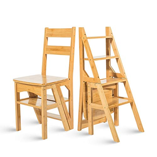 (GAIXIA-Ladder stool Multifunctional Step Stool Solid Wood Double Stair Chair Herringbone Four-Story Stair Ladder Home Folding Chair 2 Color Optional (Color : Bamboo Color))