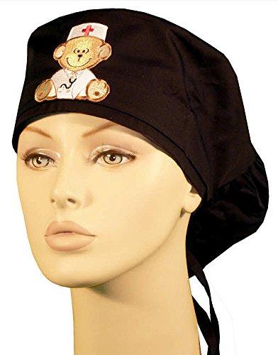 Big Hair Women's Medical Scrub Cap - Medical Monkey Patch On Black