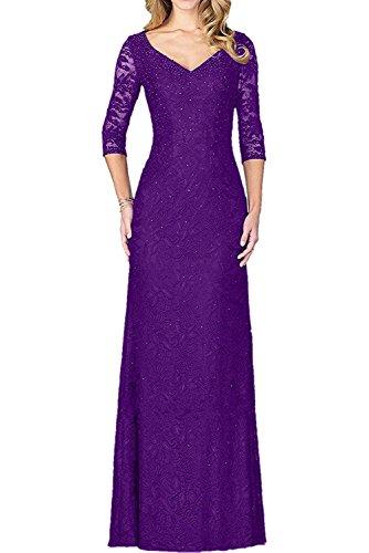 mit Violett Kleider Langarm La Braut Brautmutterkleider Abendkleider Partykleider mia Jugendweihe Schwarz Lang Spitze wBfv1pq4
