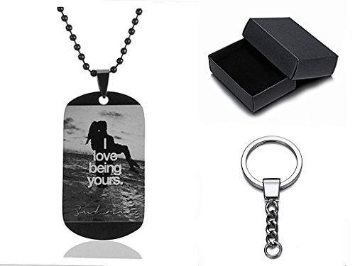 SL Beloved Stainless Steel Personalized Dog Tag Military Necklace Keychain Custom Message Stamped Pendant Best Valentine's Day Gift for Men,Women,Girlfriend,Boyfriend,Couple,Wife,Husband,Sweetheart -