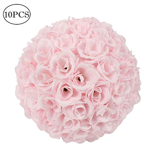 Amailtom 10 Inch Artificial Satin Flower Ball Romatic Wedding Flower Balls Kissing Balls Bouquet for Bridal Wedding Party Ceremony Centerpieces Decoration(10 Pack,Pink)