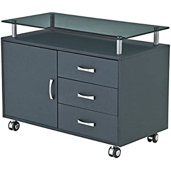 rolling file cabinet wood amazon with locking system storage frosted glass top color graphite