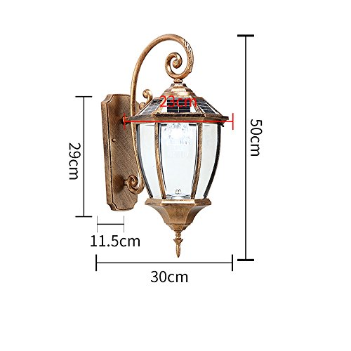 Modeen Antique Classic Traditional Victorian Outdoor Waterproof Solar Energy LED Wall Light Lantern Continental American Simple Balcony Doorway Patio Villa Wall Hanging Decoration Wall Lamp