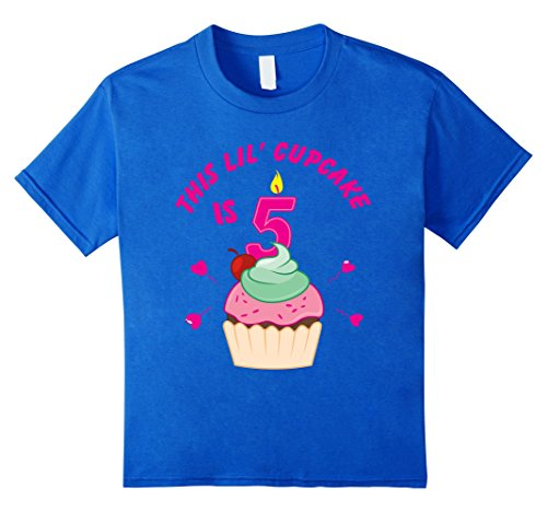 Kids 5th Birthday Girls Cupcake T-Shirt Party 5 Year Old ...
