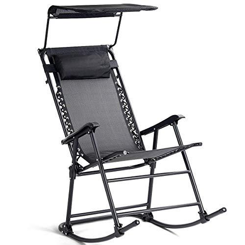 (Clever Market Folding Rocking Chair Rocker Porch Zero Gravity Furniture Sunshade Canopy)