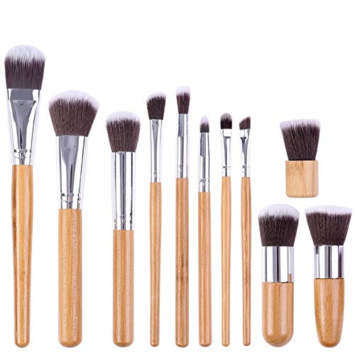 11 Bamboo Handle Makeup Brushes Tool Set Sackcloth for sale  Delivered anywhere in Canada