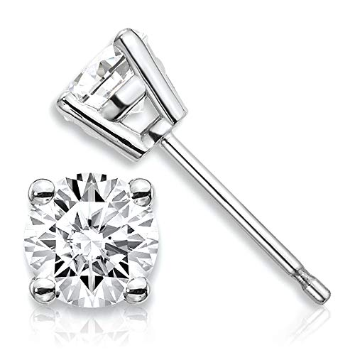 (1/2 Carat Lab Grown Diamond Stud Earrings (J Color, SI1/SI2 Clarity) Set in 14k Gold (White-Gold))