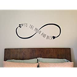 To The Moon And Back Infinity Symbol Vinyl Lettering Wall Quote Baby Nursery Bedroom Living Room Decor Wall Art Decal 48W