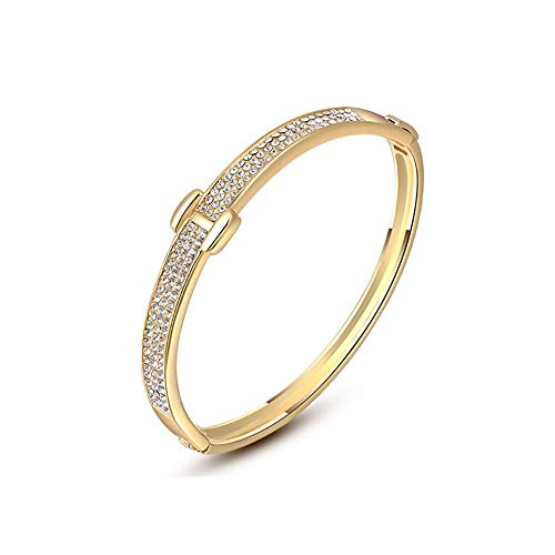 (Silver Shoppee Golden Glory 18K Yellow Gold Plated Genuine Austrian Crystal Bracelet for Girls and Women with Jewelry Gift Box Packing)