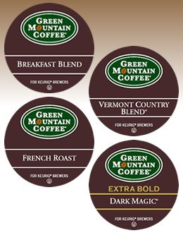 (Green Mountain REGULAR VARIETY SAMPLER ------------ 2 Boxes of 22 K-Cups ------- inculding Breakfast Blend, French Roast, Vermont Country Blend & Dark Magic)