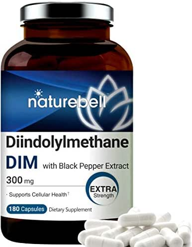 DIM Plus as Diindolylmethane, 300mg, 120 Capsules, with Black Pepper, Enhanced for Estrogen Balance, Menopause Relief, Body Building, Metabolism and Antioxidant, No GMOs and Made in USA