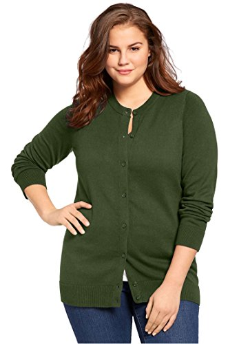 Women's Plus Size Classic Cardigan Sweater Forest Green,2X