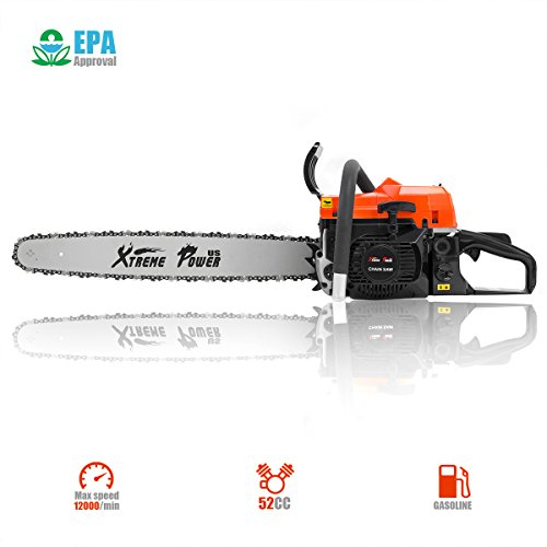 XtremepowerUS 52cc Chainsaw 22.5', Garden Gas Chainsaw Two-Stroke