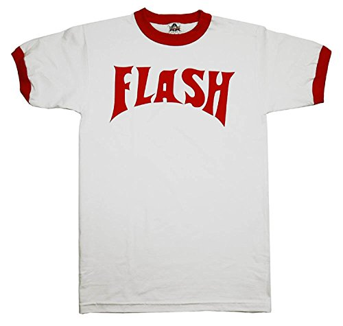 Flash Gordon Logo Red Ringer White T-Shirt Tee L - Logo Womens Ringer T-shirt