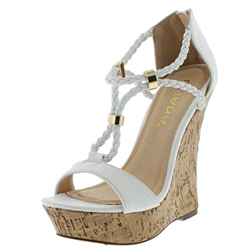 Liliana Cork Wedge with Weave Strings Pumps Casandra-2 (11, White)